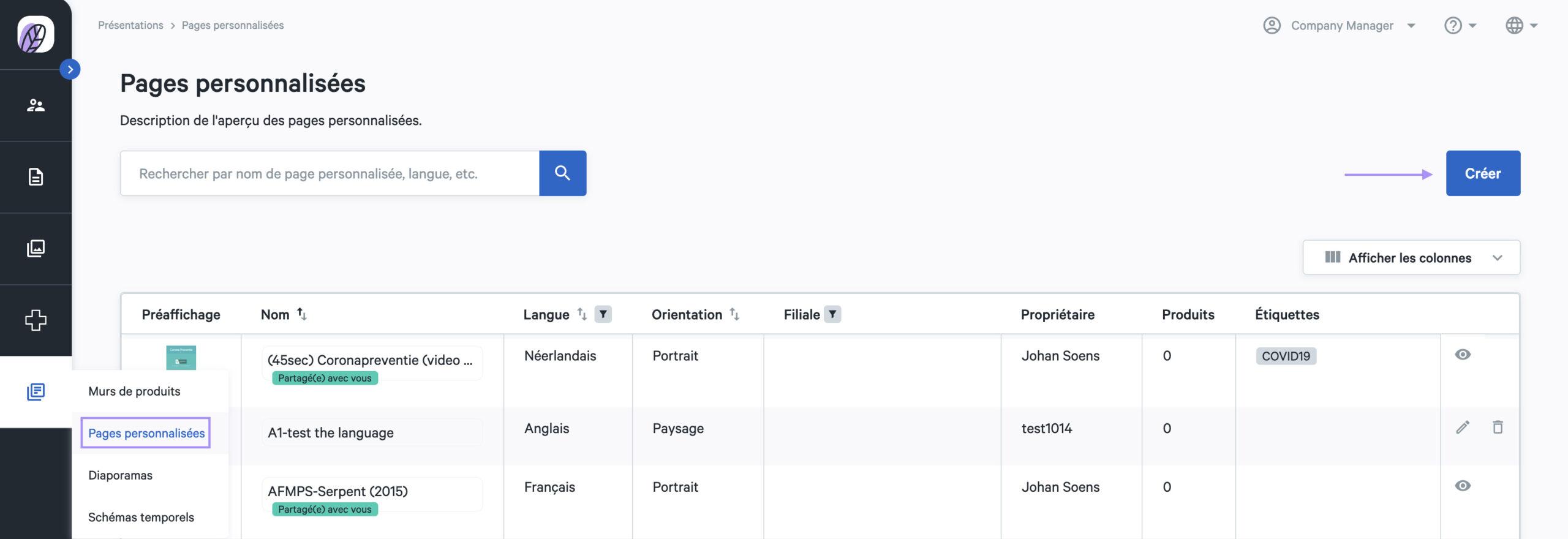 créer une page personnalisée