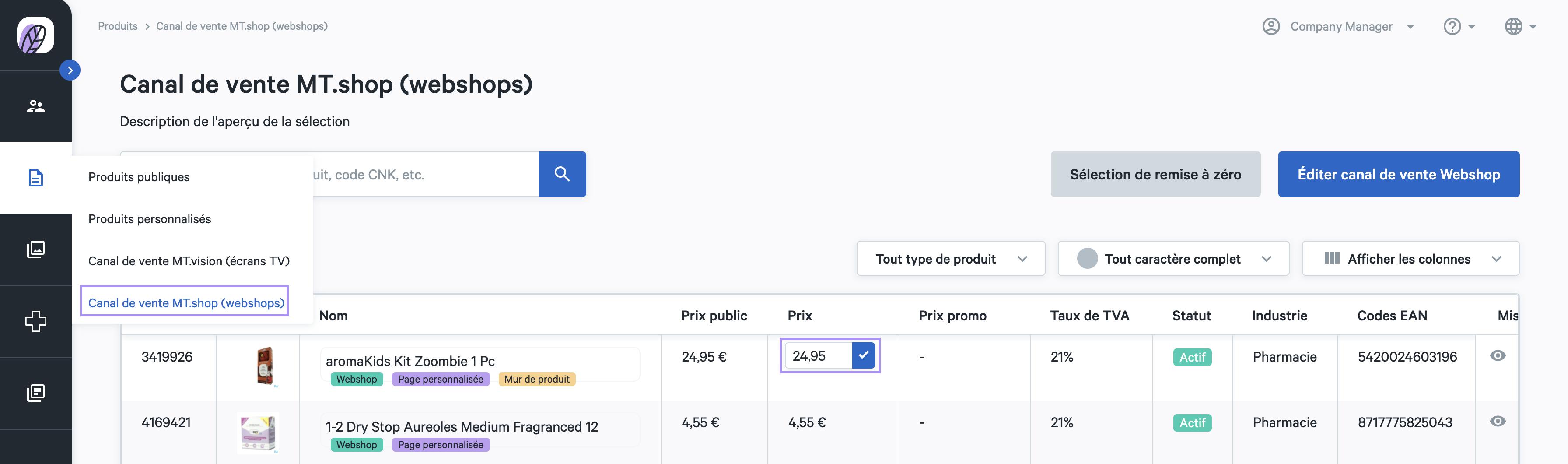 fixer prix produit webshop