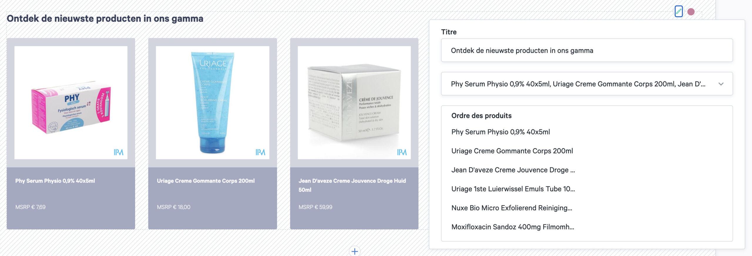 widget liste de produits