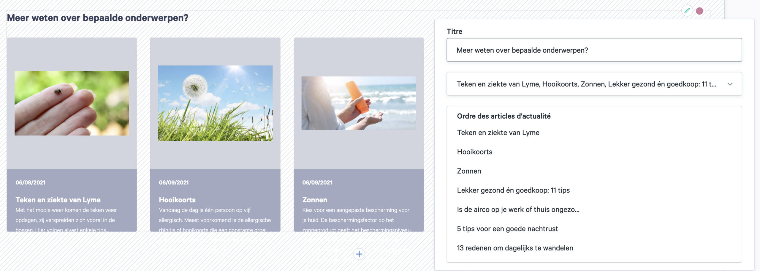 widget liste d'articles d'informations